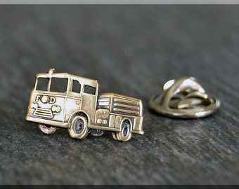 Brass Fire Engine Tie Tac, Lapel Pin, Fire Fighter Brooch, Gift for Him, Gift Under 10 Dollars, Fireman Tie Tack, Fire Rescue Unisex Pin