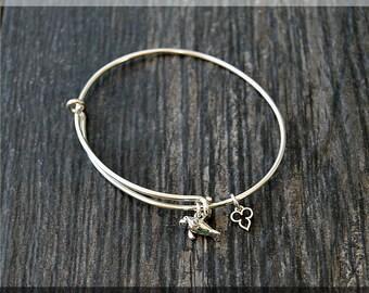 Sterling Silver Manatee Expandable Bangle Bracelet, Ocean Inspired Adjustable Bangle, Nautical Charm Bangle, Manatee Charm Jewelry