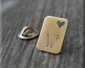 Brass Initial Tie Tac, Lapel Pin, Personalized Brooch, Gift for Him, Gift Under 10 Dollars, Personalized Pin, Letter Unisex Pin, Heart Pin