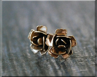 Rose Earrings. Gold Rose Flower Post Earrings, Brass Rose in Bloom Earrings, sterling silver post stud earrings. Elegant Rose Bloom Earrings