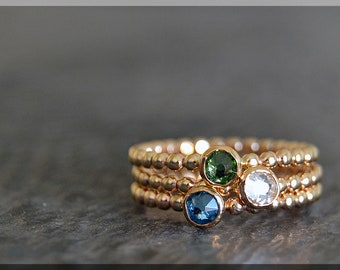 Set of 3 14k Gold Filled Birthstone Stacking Rings, Swarovski Gem Ring, Mother's Ring Stack, Swarovski Stacking Ring, Mother's Gift