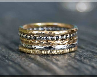 Set of 5 14k Gold Filled Sterling Silver Rings, Mixed Set of Layering Rings, 14k Gold Filled Ring Stack, Simple Stacking Rings,