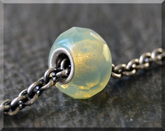 Lemon Prism Bead Charm, European Bead Charm, Sterling Silver Small Core Big Hole Bead, BHB Handmade Slide Charm, Czech Glass Large Hole Bead