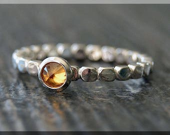 Sterling Silver Birthstone Ring, Choose Your Birthstone, Stacking Gemstone Ring, Box Shank Ring, Layering Birthstone Ring, Inverted Setting