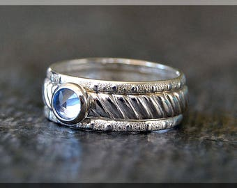Sterling Silver Birthstone Ring Set, Choose Your Birthstone, Stacking Gemstone Ring, Striped Shank Ring, Set of 3 Rings, Inverted Setting