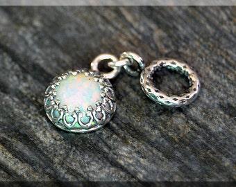 Sterling Silver European Style October Birthstone Charm, Gemstone Slide Charm, Personalized Charm, Big Hole Bead, Opal Slider Charm