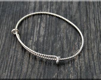 Sterling Silver Twist Expandable Bangle Bracelet, Adjustable Bangle, Twisted Wire Bangle,  Charm Bracelet, Charm Jewelry