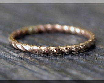 14k Gold Filled Twisted Ring, Stacking Ring, Gold Rope Stacking Ring, twisted ring, Rope texture ring, Handmade Gold Filled Band