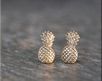 Tiny Pineapple Earrings. Gold Pineapple Post Earrings, Brass Pineapple Earrings, Handmade sterling silver post stud earrings, Fruit Earrings