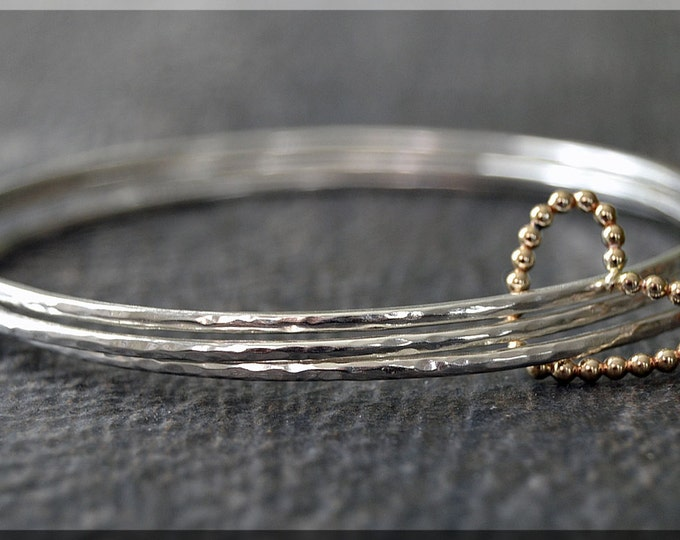 Featured listing image: Set of 3 Sterling Silver Gold Filled Heart Bangle Bracelets, Wrapped In Love, Gold Filled Floating Heart Bangle, Heart Bracelet