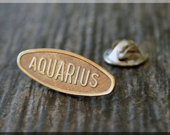 Brass AQUARIUS Tie Tac, Lapel Pin, Zodiac Brooch, Gift for Him, Gift Under 10 Dollars, Tie Tac, Astrology Sign Pin, Unisex Pin, AQUARIUS Pin