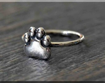 Sterling Silver Paw Print Ring, Simple Stacking Ring, Pet Memorial Ring, Handmade Stackable Sterling Silver Ring, Pet Lover Stacking ring