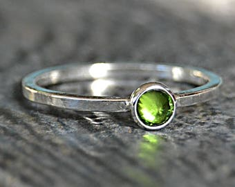 Sterling Silver Birthstone Ring, Choose Your Birthstone, Stacking Gemstone Ring, Layering Ring, Layering Mothers Ring, Inverted Setting