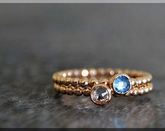 Set of 2 14k Gold Filled Birthstone Stacking Rings, Swarovski Gem Ring, Mother's Ring Stack, Swarovski Stacking Ring, Mother's Gift