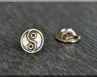 Brass Yin and Yang Tie Tac, Lapel Pin, Brooch, Gift for Him, Gift Under 10 Dollars, Opposing Forces Tie Tack, Interconnected Pin