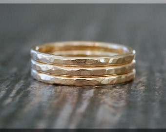 3 14k Gold Hammered Ring Stack, Hammered 14k gold filled rings, Gold ring stack, Set of 3 hammered 14k gold rings, dainty stacking rings