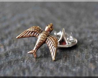 Brass Soaring Sparrow Tie Tac, Bird Lapel Pin, Sparrow Brooch, Gift for Him, Gift Under 10 Dollars, Tie Tack, Bird Gift, Nature Lapel Pin