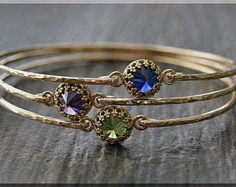 14k Gold Filled Birthstone Bangle, Simple Hammered 14k Gold Filled Bangle, Gemstone Stacking Bracelet, Birthday Bangle, Layering Bangle