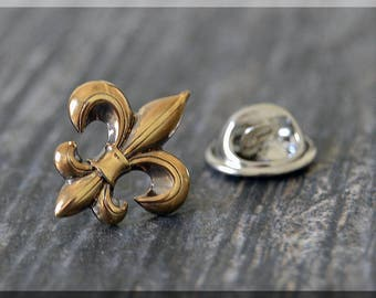 Fleur de Lis Tie Tac, Fleur de Lis Lapel Pin, French Brooch, Gift for Him, Gift Under 10 Dollars, Tie Tack, Fat Tuesday Gift Lapel Pin
