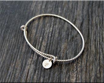 Personalized Sterling Silver Twisted Expandable Bangle Bracelet, Adjustable Bangles, Bangle Bracelet, Charm Bracelet, twisted wire Bangle