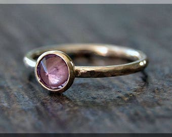 Sterling Silver Birthstone Ring, Choose Your Birthstone, Stacking Gemstone Ring, Hammered Shank Ring, Layering Ring, Inverted Setting
