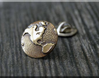 Brass Planet Earth Tie Tac, Lapel Pin, World Traveler Brooch, Gift for Him, Gift Under 10 Dollars, World Tie Tack, Travel Unisex Pin