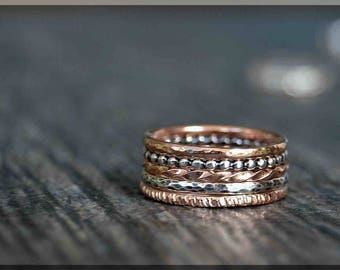 Set of 5 14k Rose Gold Filled Sterling Silver Rings, Mixed Set of Layering Rings, 14k Rose Gold Ring Stack, Simple Stacking Rings