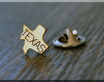 Brass State of Texas Tie Tac, Lapel Pin, Texas Brooch, Gift for Him, Gift Under 5 Dollars, Tiny State Tie Tack, Texas State Pride Lapel Pin