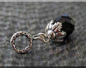 Sterling Silver Black Spinel European Style Tassel Charm Bead, BHB, Gemstone Slide Charm, Big Hole Bead, Spinel Slider Charm