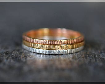 Tri Color Twig Branch Ring Stack, Set of 3 Rings, Gold Filled Textured Stackable Ring, Hand Textured Ring, Silver Rose Gold and Gold ring