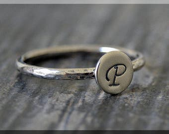 Sterling Silver Initial Ring, Personalized Silver ring, Sterling Stacking Ring, delicate ring, Hand stamped Initial Ring, Monogram ring