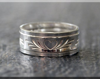 Sterling Silver Alpine Heart Ring, Sterling Silver Stacking Ring, Alpine Ring, Thick Silver Stacking Ring, Wide Sterling Silver Band