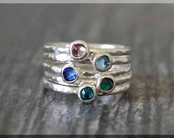 Set of 5 Sterling Silver Birthstone Stacking Rings, Swarovski Gem Ring, Mother's Ring Stack, Swarovski Stacking Ring, Mother's Day Gift