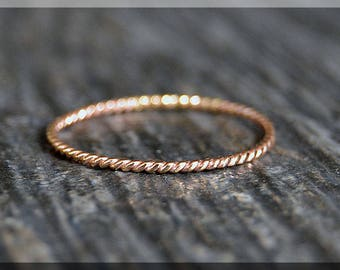 Ultra Thin 14k Rose Gold Stacking Ring, Twisted 14k Rose gold filled ring, Stacking Ring, delicate gold filled ring, Dainty stacking ring