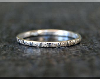 Textured Sterling Silver Ring, Sterling Silver Stacking Ring, Bead Sterling Ring, Sterling Silver Band, Dot Texture Silver Stacking ring