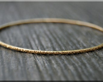 14k Gold Filled Bangle Bracelet, Twig Bark Textured Gold Filled Bangle, Stacking Bracelet, Gold Minimalist Bracelet, Simple Stacking Bangle