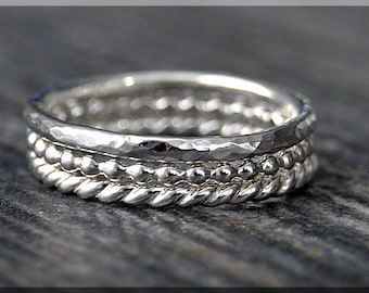 Set of 3 Sterling Silver Stacking Rings, Simple Stacking Rings, Stackable Sterling Silver Rings, Full Bead Ring, Hammered Ring, Twisted Ring