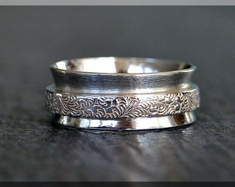 Spinner Ring, Sterling Silver Fidget Ring, Floral Worry Ring, Wide Spinner ring, Whimsy Textured Ring, Middle Finger, Index Finger Ringi