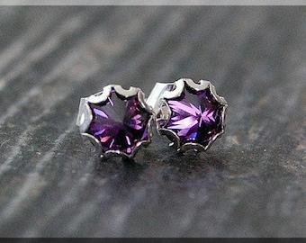 Sterling Silver Birthstone Stud Earrings. Sterling Gemstone Post Earrings, Choose Your Birthstone, Handmade earrings, 5mm Gemstone earrings