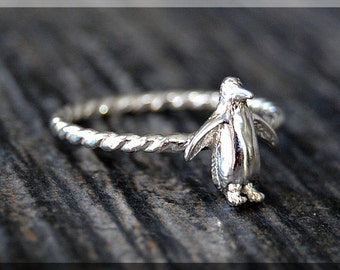 Sterling Silver Penguin Stacking Ring, Stacking Jewelry, Penguin Jewelry, Novelty Ring, North Pole Ring, Bird Ring, Stackable Ring