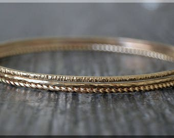 Set of 3 14k Gold Filled Bangle Bracelet, Twig Bark Bangle, Twist, Hammered Texture Stacking Bracelets, Gold Filled Minimalist Bracelet Set
