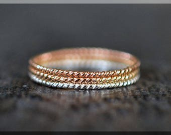Ultra Thin Tri Color Twist Ring Stack, Set of 3 Rings, Gold Filled Stackable Ring, Hand Textured Ring, Silver Rose Gold and Gold ring