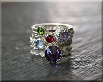 Set of 5 Sterling Silver Birthstone Rings, Choose Your Birthstone, Inverted Gemstone Ring, Mothers Ring, Family Ring Stack, Moms Ring Set