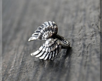 Sterling Silver European Style Angel Wings Charm, Handmade Slide Charm, Personalized Wings Charm, Big Hole Bead, Angel Slider Charm