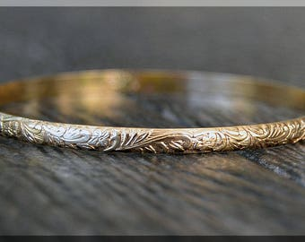Solid 14k Gold Floral Pattern Bangle, Textured Solid Gold Bangle Bracelet, Stacking Bangle, Layering Bangle, Thick Floral 14k Gold Bangle