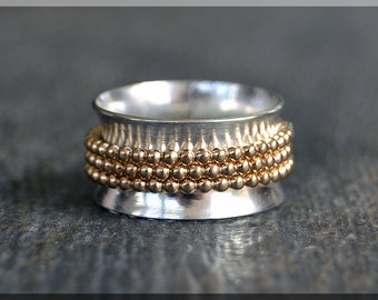 Spinner Ring, 14k Gold Filled and Sterling Silver, Fidget Ring, Personalized Family Ring, Mixed Metal Ring, Index Finger Ringi