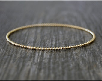 14k Gold Filled Beaded Bangle, Dotted Gold Filled Bangle Bracelet, Dottie Bangle, Gold Stacking Bracelet, Simple Layering Bangle, Bauble