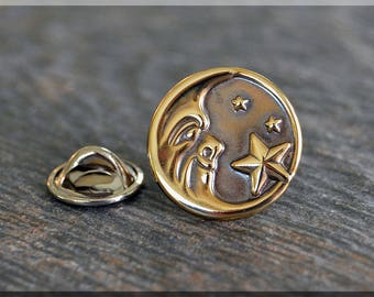 Brass Moon and Stars Tie Tac, Lapel Pin, Brooch, Gift for Him, Gift Under 10 Dollars, Celestial Tie Tack, Moon Face Unisex Pin