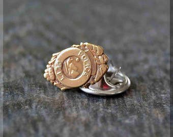 Brass Police Shield Tie Tac, Law Enforcement Lapel Pin, Badge Brooch, Gift for Him, Gift Under 10 Dollars, Tie Tack, Back The Badge Pin