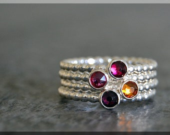 Set of 4 Sterling Silver Birthstone Stacking Rings, Swarovski Gem Ring, Mother's Ring Stack, Swarovski Stacking Ring, Mother's Day Gift